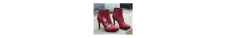 ZHZNVX HSXZ Zapatos de Mujer de Cuero de Nubuck Moda Otoño Invierno Confort Botas Botas Zapatos Stiletto Talón... -