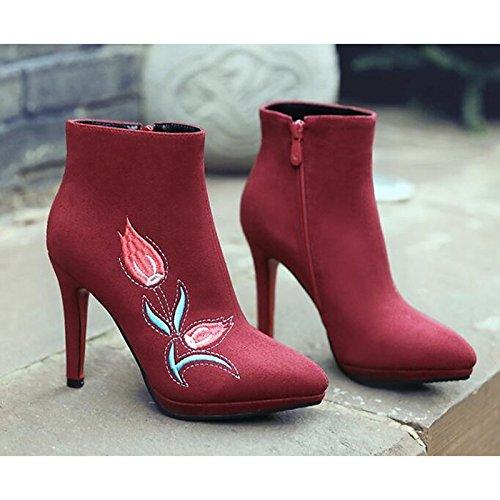 HSXZ Scarpe da donna in pelle Nubuck inverno cadono Comfort moda Stivali Stivali scarpe da passeggio Stiletto Heel Punta Babbucce/Stivaletti Red