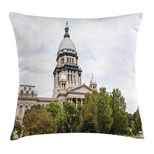 HLKPE Illinois Throw Pillow Cushion Cover, Historical American Capitol Building in Springfield Governor Politics, Decorative Square Accent Pillow Case, Pearl Beige Olive Green,16 X 16 Inches