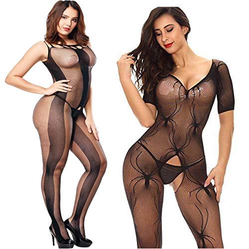Amoure 2 Pack Damen Bodystocking Netz Dessous Body Übergröße Bodysuit Nachtwäsche Dessous Schwarz