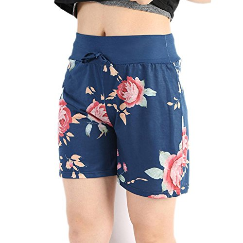 QUINTRA Frauen Sommer Casual Blumendrucke Kordelzug Shorts - Fleece-volleyball-stoff