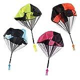 robinlu Fallschirmspringer Werfen Kinder Spielzeug, 4 Stück Hand Fallschirm Draußen Parachute Toy Verwicklung Frei Soldaten Spielfiguren(Blau + Orange + Rosa + Gelb)