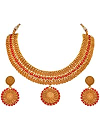JFL - Traditional Ethnic One Gram Gold Plated Stone Spiral Designer Necklace Set With Earring For Women And Girls.