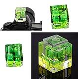 Fengh 3d tres Axis nivel de burbuja zapata adaptador para Canon Nikon Cámaras (verde)
