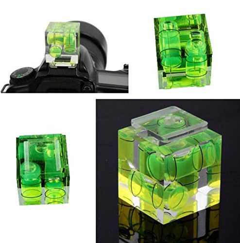 Fengh 3D Drei Axis Bubble Wasserwaage Blitzschuh Adapter für Canon Nikon Kameras (grün)