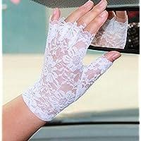 Kingwin 1Pair Fancy Lace Short Fingerless Gloves Wedding Gloves French 80s Retro Gloves (White)