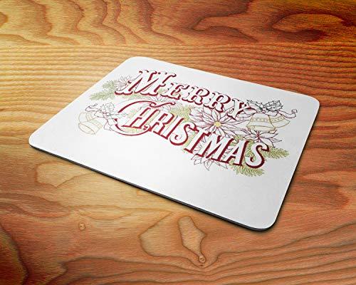 Frohe Weihnachten Skizziert Zeichen und Dekorationen Weiche 5mm Gummi-PC-Mausunterlage - für Spiele zu Hause oder im Büro