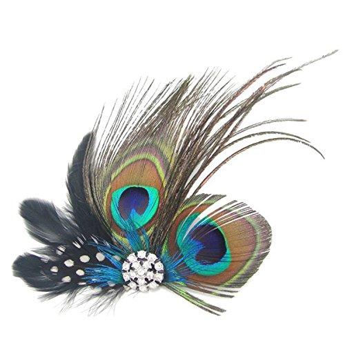 Tinksky u154-1 Belle plume de paon cheveux clip épingle à cheveux