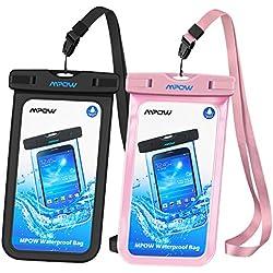 Mpow Funda Móvil Impermeable,Funda Bolsa Impermeable IPX8 para Móvil Universal de 6 Pulgadas para iPhone XS/XS MAX/X/8/8 Plus/7/7 Plus,Huawei, BQ Aquaris,Sony,Galaxy S9/S8/S7(Negro/Rosa)