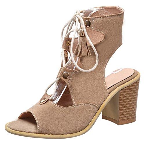 COOLCEPT Femmes Mode Lacets Sandales Creux Slingback Vintage Bloc Gladiateur Chaussures Beige