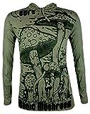 Sure Clothing Herren Longsleeve T-Shirt - Magic Mushrooms Größe M L XL Psychedelische Zauber-Pilze Goa-Party PSY-Trance (Olive Grün L)