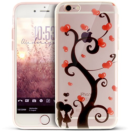 Coque iPhone 6S,Étui iPhone 6,iPhone 6S/iPhone 6 Case,ikasus® Coque iPhone 6S/iPhone 6 Silicone Étui Housse [Conception IMD et cadre en silicone TPU] Téléphone Couverture TPU Ultra Mince Premium Semi  Arbre d'amour et couple