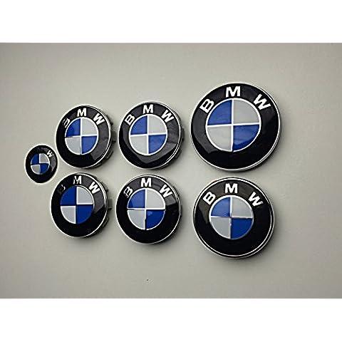 X7Set di 7Blu e bianco, con Logo centrale, Boot, cofano e volante Badge Emblemi BMW - Serie Oem Boot
