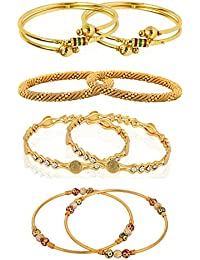 Zeneme Designer Gold Plated Jewellery Bangles For Women And Girls - Combo Of 4