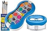 Pelikan Deckfarbkasten Space+ 735 SP/12 mit 12 Farben und 1 Tube Deckweiß/Starter-Set (blau mit Space-Wasserbecher + Pinsel-Set)