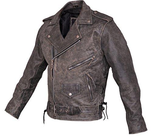 Marlon Brando Herren Stonewash Distressed Vintage Leder Jacke-Biker Leder Jacke-Klassische Motorrad Leder Jacke Gr. Medium, Grau/Schwarz -