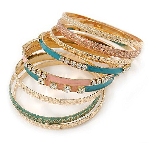pastel-de-textura-estilo-indio-clear-crystal-esmalte-brazalete-set-de-9-en-oro-tone-19-cm-l