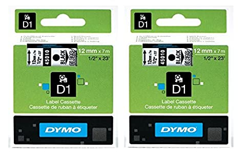2 pack DYMO High-Performance Permanent Self-Adhesive D1 Polyester Tape for Label Makers, 1/2-inch, Black Print on Clear, 23-foot Cartridge (45010) by DYMO