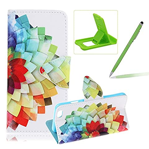 For iPhone 6S Leather Case,For iPhone 6 Flip Folder Card Holders Money Pouch Case,Herzzer Book Style Premium [Colorful Petals Pattern] Stand Function Protective Cases Covers PU Leather Wallet Case Cover Pouch [Magnetic Closure] with Card Slots For iPhone 6/6S 4.7 inch + 1 x Green Cellphone Kickstand + 1 x Green Stylus