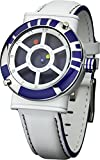 Star Wars Men's Quartz Watch with Blue Dial Analogue Display and White Leather Strap STAR139