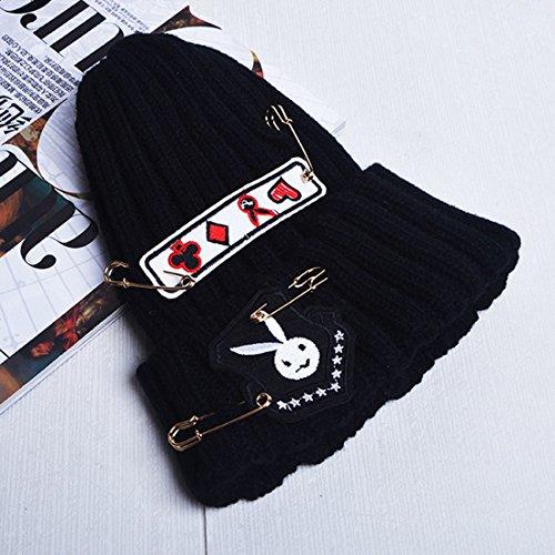 Belsen enfants lapin Baby Bonnet de laine Chapeau Bonnet en tricot Noir