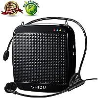 Amplificador de voz, SHIDU Mini amplificador de voz con micrófono con cable Headset 15W portátil personal Speaker MP3 Audio Sound System para maestros, ancianos, canto, autocares, yoga, guías de turismo, entrenadores al aire libre