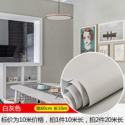 Tapete Selbst-stick Wasserdicht Warm 10 Meter Farbe Tapete Hintergrund Wandpaste Pvc Schlafzimmer Feuchtigkeit Schlafsaal Renovierung Aufkleber 0,6 X 10m Light Man/White Grey 60CM Breite X10 m