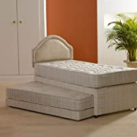 """Hf4you 3 in 1 Deep Quilted Guest Bed - 3ft Single - 2x Mattresses - 20"""" Brown Faux Leather Headboard"""