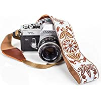 White Woven Vintage Camera Strap Belt For All DSLR Camera. Embroidered Elegant Universal DSLR Strap, Floral Pattern Neck Shoulder Camera Strap for Canon, Nikon,Pentax, Sony,Fujifilm and Digital Camera