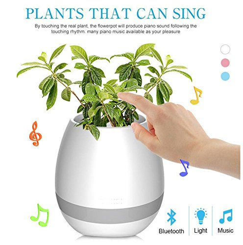 Voltac Music Flowerpot,Smart Plant pots,Touch Music Plant Lamp with Rechargeable Wireless Bluetooth...