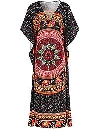 SZIVYSHI Manga Estilo Kimono Escote Triangular en V Barroco Étnico Tribal Africano Azteca Long Larga Largo