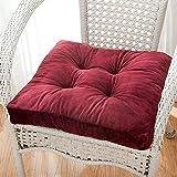 Nicht Rutschen Dick Sitzkissen, Plüsch Ultra Soft Stuhlkissen Pad Essen Stuhl Pad Quadratische Mit Riemen Für Indoor Outdoor-rot 48x48x10cm(19x19x4)