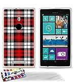 MUZZANO - Cover Morbida Ultra Sottile per Nokia Lumia 925, Motivo a Quadretti 1, 3 pellicole Proteggi Schermo UltraClear + Pennino e Panno pulente Inclusi