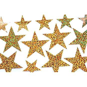 Bügelbild, Motiv: Sterne, Farbe: gold-regenbogen, Setgröße: groß, heißsiegelfähige Flexfolie
