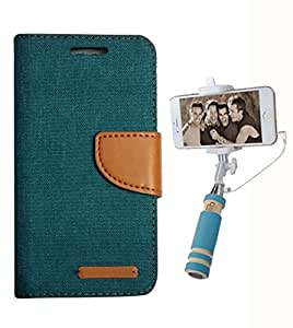 Aart Fancy Wallet Dairy Jeans Flip Case Cover for SamsungA5 (Green) + Mini Fashionable Selfie Stick Compatible for all Mobiles Phones By Aart Store