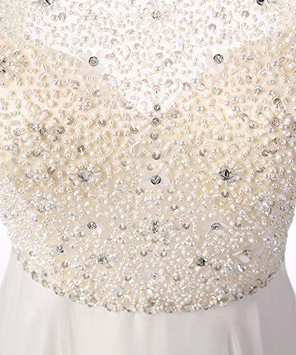 Dresstells, Robe de soirée Robe de cérémonie Robe de gala mousseline dos nu longueur ras du sol avec paillettes Champagne