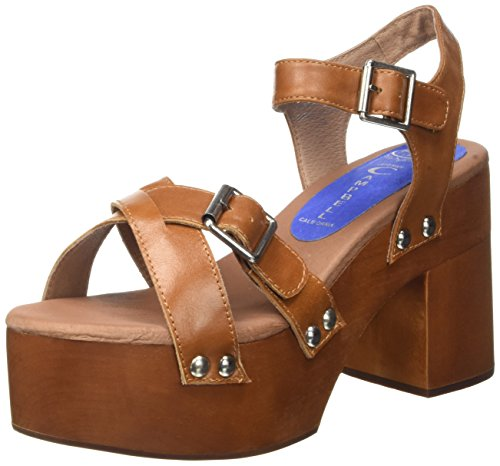 Jeffrey Campbell Peasy Leather, Scarpe con Tacco a Punta Aperta Donna Marrone (Tan)