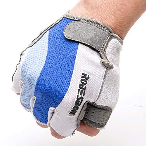 Zhangcaiyun Protective Gloves Fahrradhandschuhe Super Pad Kurze Finger Fahrrad Blaue und weiße...