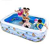 QINGTAOSHOP Aufblasbares Pool PVC-rechteckiges Luxuxhaus-Planschbecken 180 * 140 * 60CM (Color : Blue, Size : 180*140*60cm)