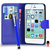 Apple iPhone 5C Case - Premium Leather BLUE Wallet Flip Case Cover Pouch with Mini & Big Touch Stylus Pen RED Dust Stopper Screen Protector & Polishing Cloth SVL3, (WALLET BLUE)