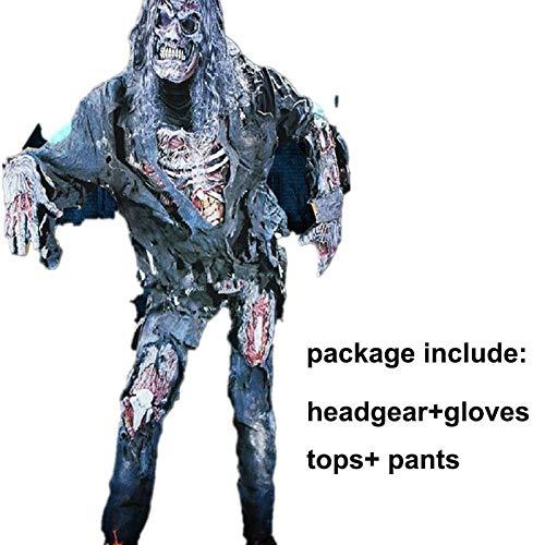 Luckydlc Halloween Phantasie Gruselig Kostüm Weiblich Männlich Blutig Verkleiden Sich Zombie Kostüm Party Dekoration luckydlc (Color : A, Size : One - Zombie Kostüm Männliche