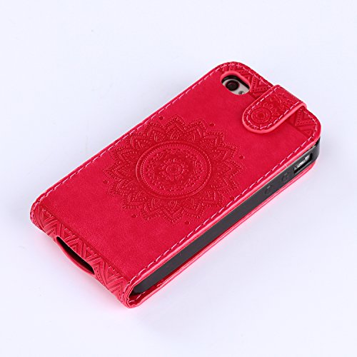 iPhone 4S Hülle Leder,iPhone 4S Hülle Mädchen,iPhone 4S Hülle Cute,iPhone 4S Weiß Leder Handy Tasche Wallet Case Flip Cover Etui für iPhone 4,iPhone 4S Case Blumen,EMAXELERS iPhone 4S PU Leder Wallet  Flower 1