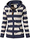 Search : EKU Women's Active Casual Striped Pocket Hoodie Jacket