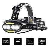 Karrong Karrong LED Stirnlampe USB Wiederaufladbar, Kopflampe mit Rotlicht 7 Modi, Kopfleuchte Wasserdicht Aufladbar Leicht Kopflampen Stirnlampen für Outdoor, Camping, Joggen, Gehen, Lesen, Laufen, Arbeit