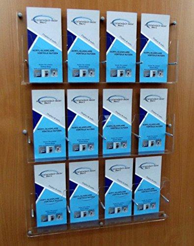 12- Fach Flyerwandhalter für DIN LANG,DIN A6 und 1/3A4,Prospektwandhalter