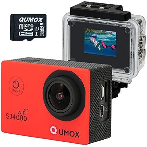 QUMOX WIFI SJ4000 obiettivo Rosso azione Sport Cam Waterproof Full HD 1080p 720p Video Helmet Cam con cassa impermeabile + 32 GB Micro SD