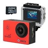 QUMOX WIFI SJ4000 Action Sport-Nocken-Kamera wasserdichte Full HD 1080p 720p Video Foto Fahrradhelmkamera Wassersport (Rot+ 32GB MicroSD) mit Verbesserten Batterien und Zubehör Kits und Wasserdichtes Gehäuse