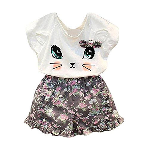 Puseky Toddler Baby Girls Cute Cat T-shirt+Floral Shorts Kids Summer Clothes Set (3-4 Years, White+Floral)