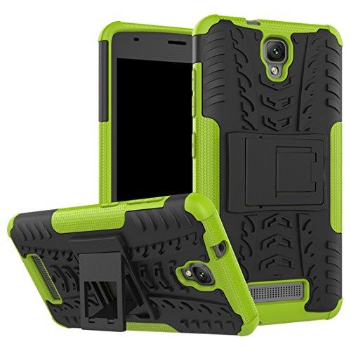 Wrcibo ZTE Blade L5 (L5 Plus) Hülle, Wrcibo Hybrid 2 in 1 TPU und PC Schutzhülle Cover Case Armor Handytasche Backcover Stoßfest Handy Hülle Tasche Schutz Etui mit Ständer für ZTE Blade L5 (L5 Plus) [Grün]