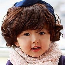 Spritech™ binarytech esponjoso realistas de los niños encantadores corto peluca de pelo rizado fibra ondulado